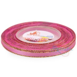 6mm Senorita Gold Edge Satin Ribbon - Carnation Pink 812G