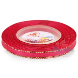 6mm Senorita Gold Edge Satin Ribbon - Camelia Rose 813G