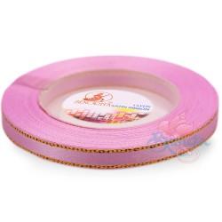 6mm Senorita Gold Edge Satin Ribbon - Vintage Pink 814G
