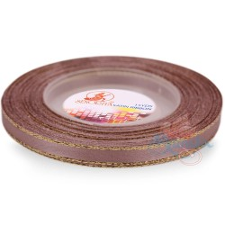 6mm Senorita Gold Edge Satin Ribbon - Rosy Brown 815G
