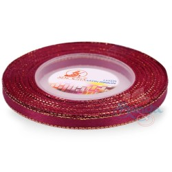6mm Senorita Gold Edge Satin Ribbon - Burgundy 817G