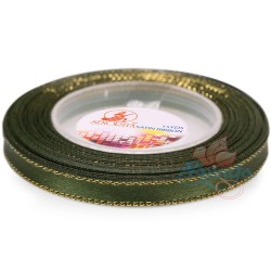 6mm Senorita Gold Edge Satin Ribbon - Dark Forest A09G