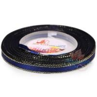 6mm Senorita Gold Edge Satin Ribbon - Dark Blue A13G
