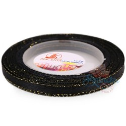 6mm Senorita Gold Edge Satin Ribbon - Black BG