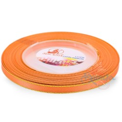 6mm Senorita Gold Edge Satin Ribbon - Bright Orange F107G