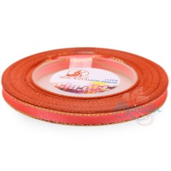 6mm Senorita Gold Edge Satin Ribbon - Neon Red F110G