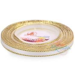 6mm Senorita Gold Edge Satin Ribbon - White WG