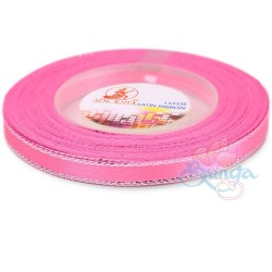 6mm Senorita Silver Edge Satin Ribbon - Pink 013s