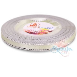 6mm Senorita Silver Edge Satin Ribbon - Ivory 01s