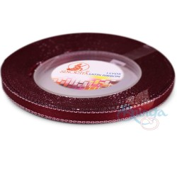 6mm Senorita Silver Edge Satin Ribbon - Maroon 028s