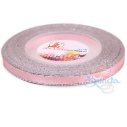 6mm Senorita Silver Edge Satin Ribbon - Light Pink 12s