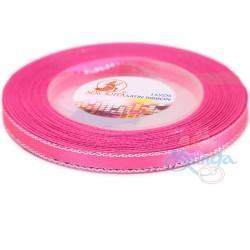6mm Senorita Silver Edge Satin Ribbon - Deep Pink 13s