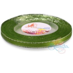 6mm Senorita Silver Edge Satin Ribbon - Olive Green 208s