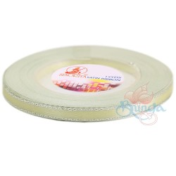 6mm Senorita Silver Edge Satin Ribbon - Pearl 224s