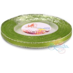 6mm Senorita Silver Edge Satin Ribbon - Lime 237As