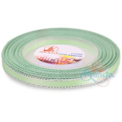 6mm Senorita Silver Edge Satin Ribbon - Mint 242s