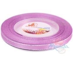 6mm Senorita Silver Edge Satin Ribbon - Light Lilac 255s