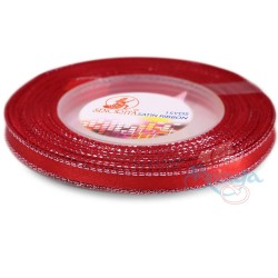 6mm Senorita Silver Edge Satin Ribbon - Red 28s
