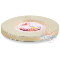 6mm Senorita Silver Edge Satin Ribbon - Butter Milk 51s