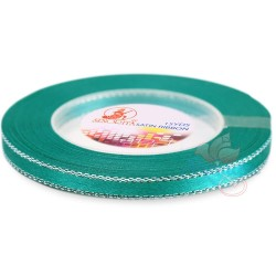 6mm Senorita Silver Edge Satin Ribbon - Tiffany Blue 548s