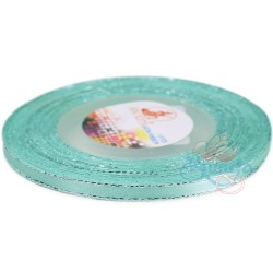 6mm Senorita Silver Edge Satin Ribbon - Light Turquoise 802s
