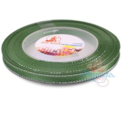 6mm Senorita Silver Edge Satin Ribbon - Sea Green 803s