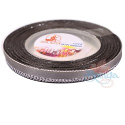 6mm Senorita Silver Edge Satin Ribbon - Metal Grey 805s