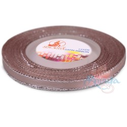 6mm Senorita Silver Edge Satin Ribbon - Pinky Brown 808s