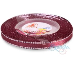 6mm Senorita Silver Edge Satin Ribbon - Merlot 809s