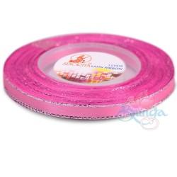 6mm Senorita Silver Edge Satin Ribbon - Carnation Pink 812s