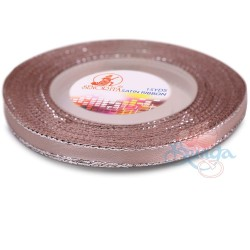 6mm Senorita Silver Edge Satin Ribbon - Rosy Brown 815s