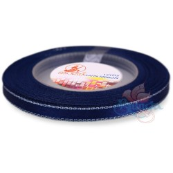 6mm Senorita Silver Edge Satin Ribbon - Dark Blue A13s