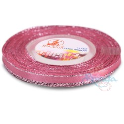 6mm Senorita Silver Edge Satin Ribbon - Vintage Rose A37s