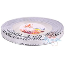 6mm Senorita Silver Edge Satin Ribbon - White Ws