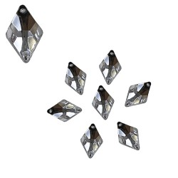 Acrylic Stone Sew On Diamond Shape White 10mm x 15mm - 20pcs (RA)
