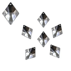 Acrylic Stone Sew On Diamond Shape White 14mm x 18mm - 10pcs (RA)
