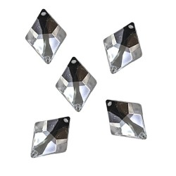 Acrylic Stone Sew On Diamond Shape White 16mm x 23mm - 10pcs (RA)
