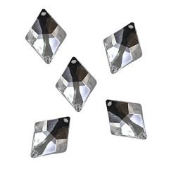 Acrylic Stone Sew On Diamond Shape White 16mm x 23mm - 10pcs (RA)