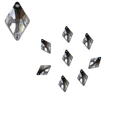 Acrylic Stone Sew On Diamond Shape White 6mm x 10mm - 30pcs (RA)