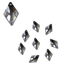 Acrylic Stone Sew On Diamond Shape White 8mm x 12mm - 20pcs (RA)