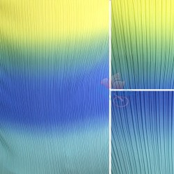 "Chiffon Fabric Pleated 3 Tone Yellow Blue Teal 60"" Wide - 5 Meters"