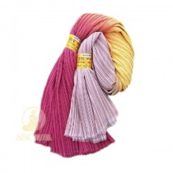 Chiffon Fabric Pleated 3 Tone Magenta Yellow Purple 60 inch Wide - 5 Meters