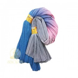 Chiffon Fabric Pleated 3 Tone Blue Pink Grey 60 inch Wide - 5 Meters
