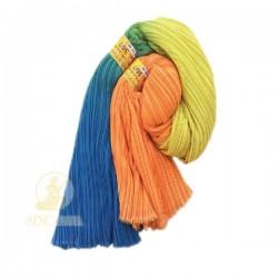 Chiffon Fabric Pleated 3 Tone Blue Yellow Orange 60 inch Wide - 5 Meters