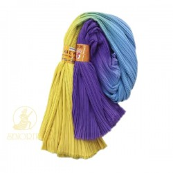 "Chiffon Fabric Pleated 3 Tone Yellow Blue Purple 60"" Wide - 5 Meters"