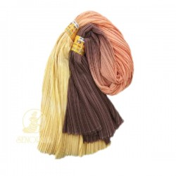 "Chiffon Fabric Pleated 3 Tone Yellow Peach Brown 60"" Wide - 5 Meters"