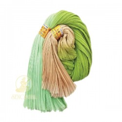 Chiffon Fabric Pleated 3 Tone Green Light Brown 60 inch Wide - 5 Meters
