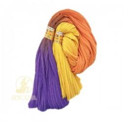 Chiffon Fabric Pleated 3 Tone Purple Orange Yellow 60 inch Wide - 5 Meters