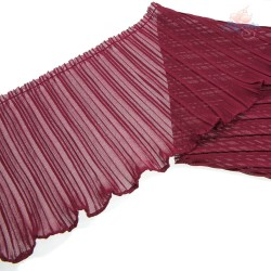 20cm Chiffon Pleated Trimming Maroon - 1 Meter