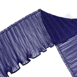 15cm Chiffon Pleated Trimming Navy Blue - 1 Meter